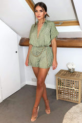 Khaki Shirt Style Love Heart Spotty Playsuit