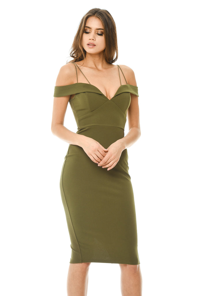 Khaki Bodycon Midi with Off Shoulder Strappy Detail
