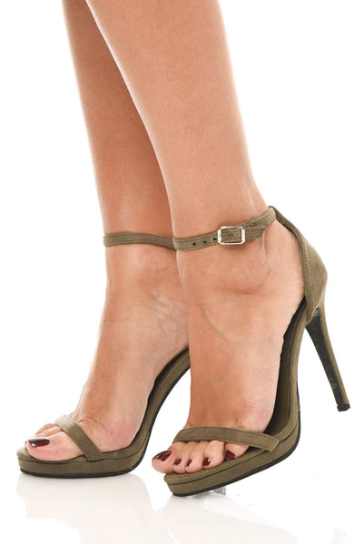 Khaki Suede Barely There Heels