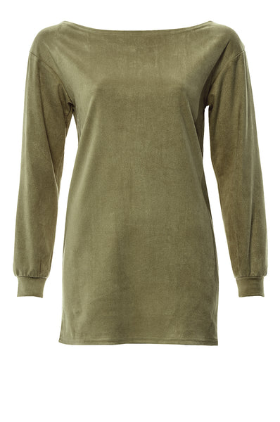 Khaki Suede Long Sleeve Jumper Top
