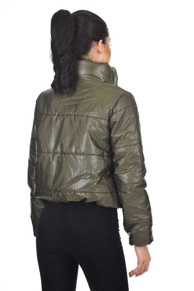 Khaki Wet Look Puffer Jacket