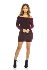 Wine Knitted  Bardot Dress