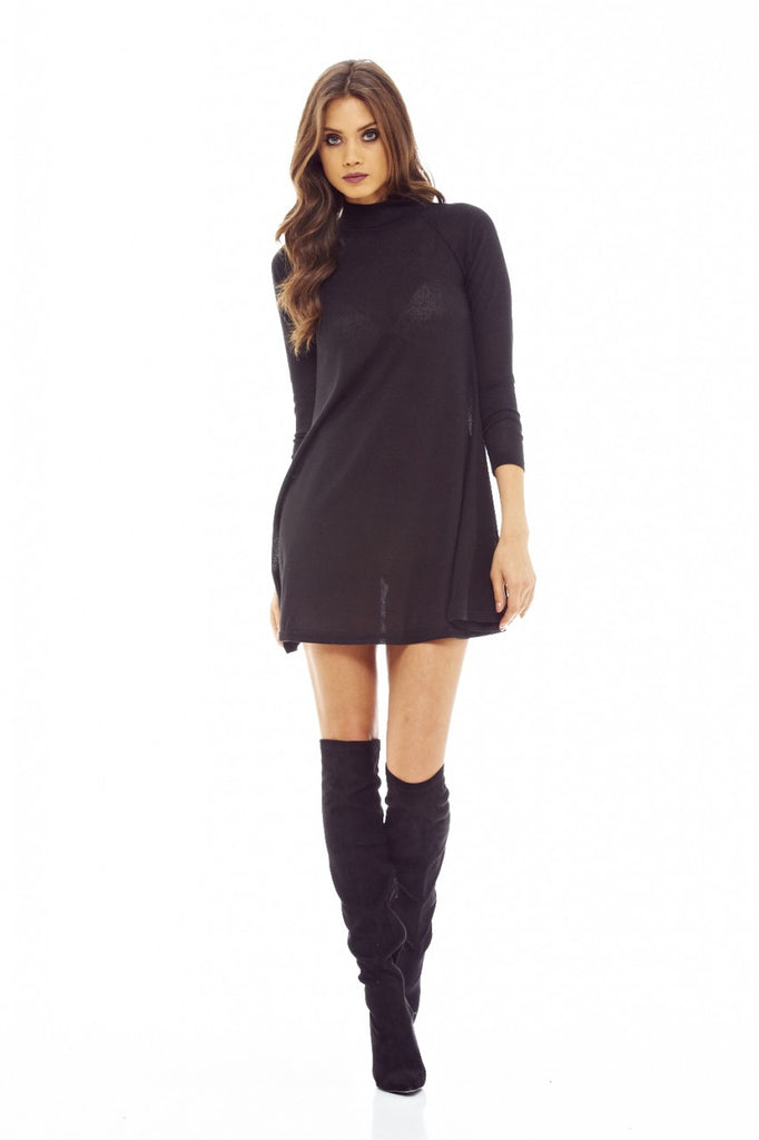 Black Knitted Swing Dress with Turtle Neck Style