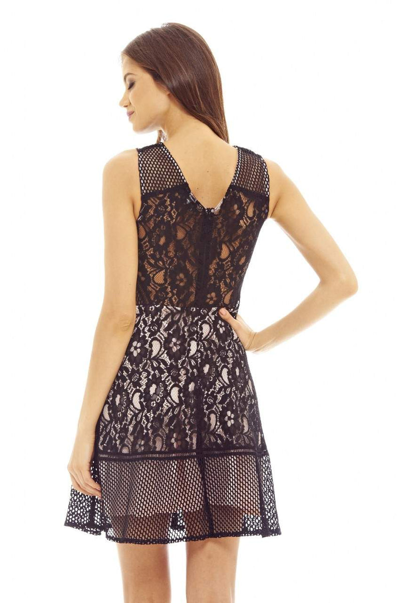 Black/Nude Skater Dress with Mesh and Lace Detail