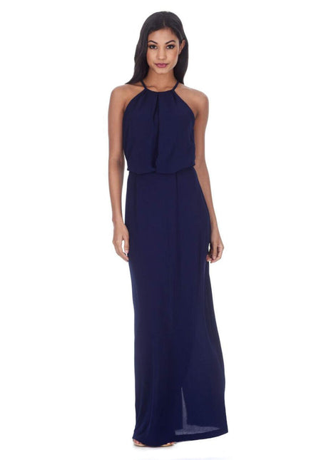 Navy Notch Front Off The Shoulder Maxi dress