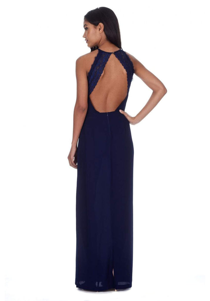 Navy Halterneck Strappy Lace Detail Maxi Dress