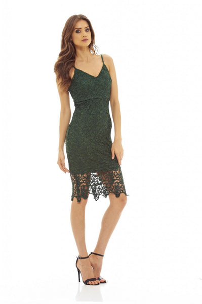 Green V Neck Crochet Midi Dress