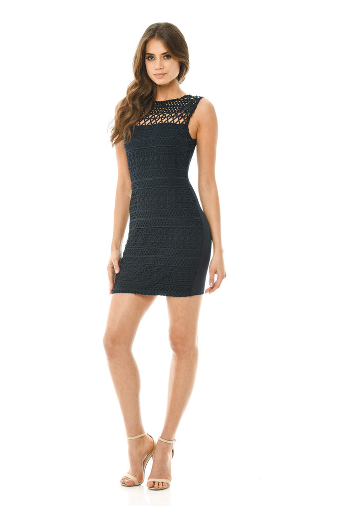 Navy Sleeveless Crochet Bodycon Mini Dress