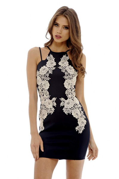 Mini Bodycon Lace Insert Dress