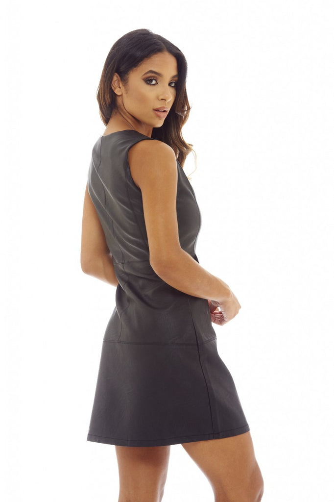 Black Faux Leather Mini Shift Dress