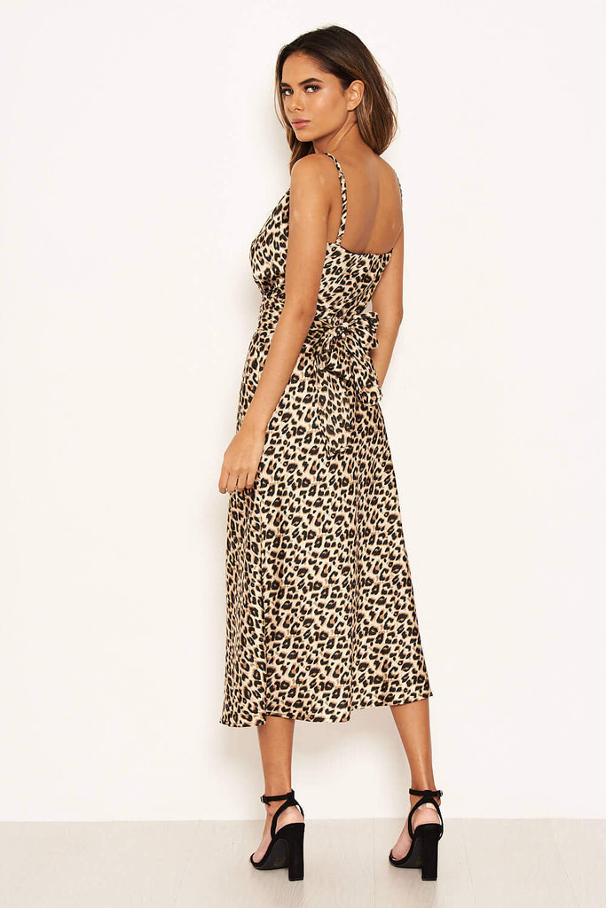 Leopard Print Silky Midi Dress