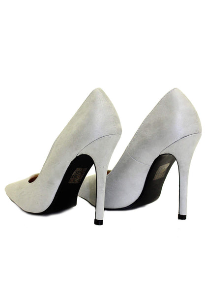 Grey Suede Court Shoe Heels