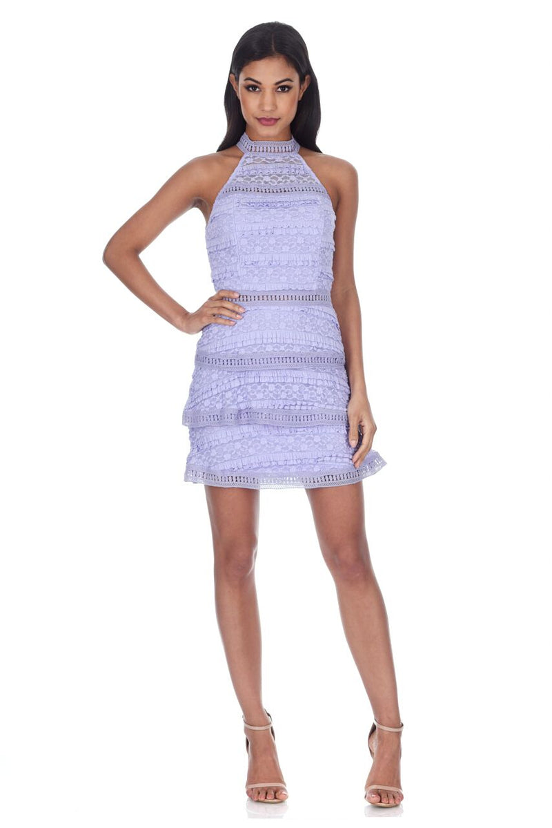 Lilac Lace Layered Mini Dress