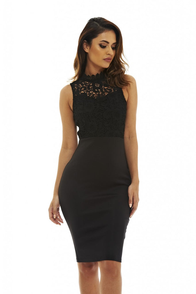 Black 2-in-1 Midi Dress with Crochet Detail