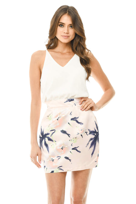 Navy 2 in 1 Floral Dress