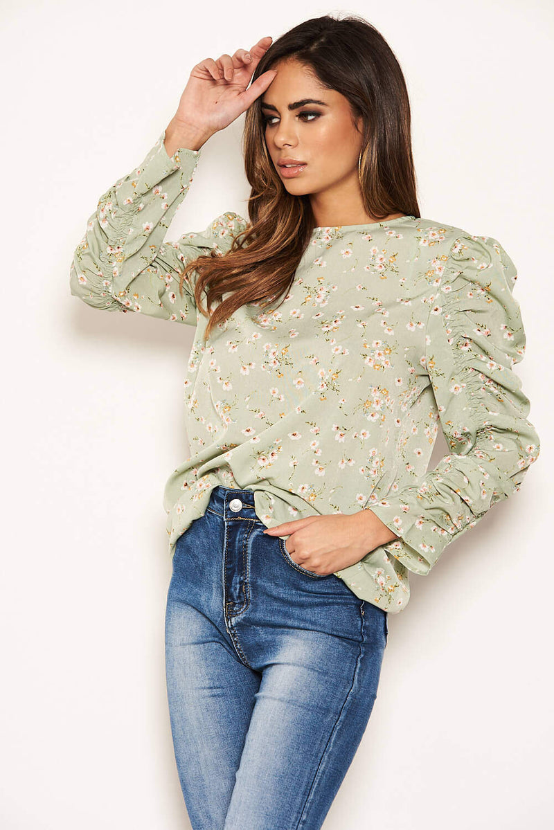 Mint Floral Puffed Ruched Long Sleeve Top