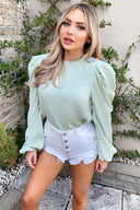 Mint Puff Sleeve Loose Fit Top