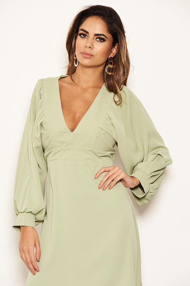 Mint Pleated V Neck Mini Dress