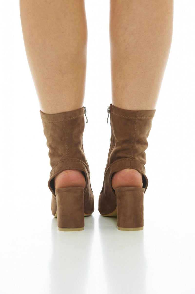 Mocha Boots with Cut-Out Heels