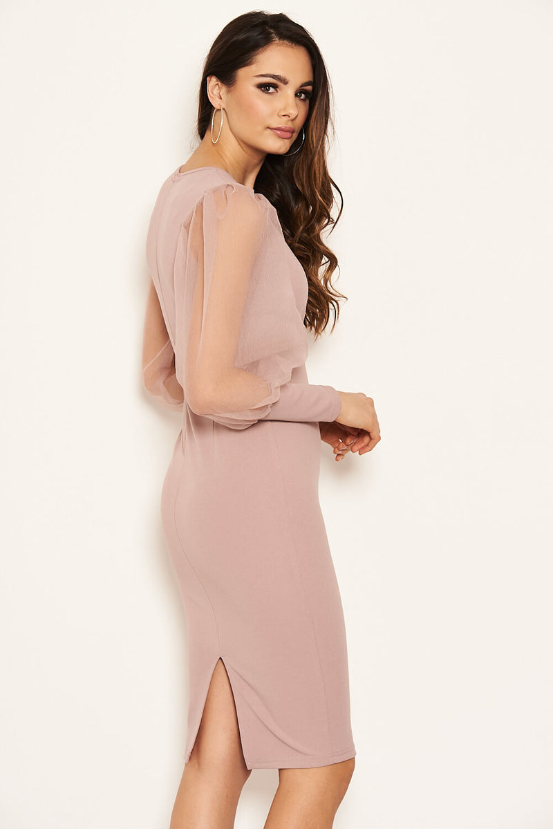 Mushroom Puff Sleeve Midi Dress