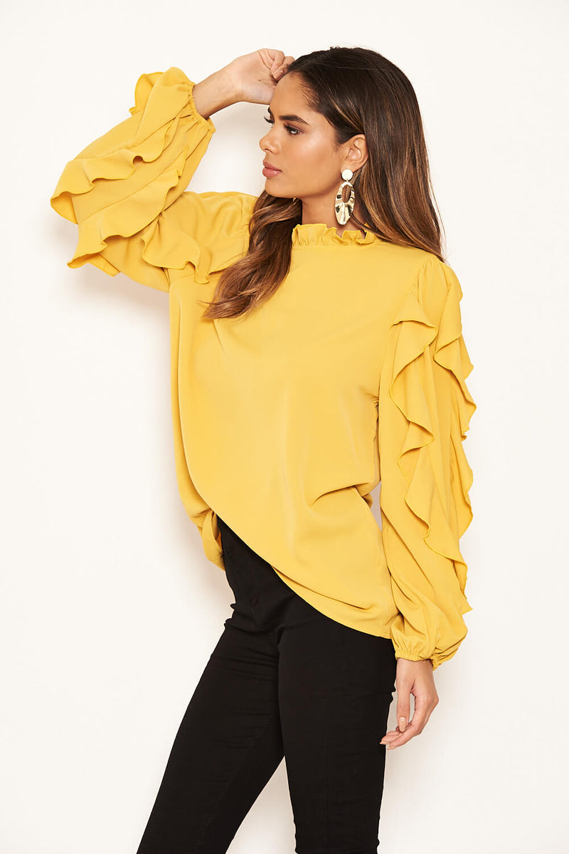 Mustard Frilled Sleeve High Neck Top