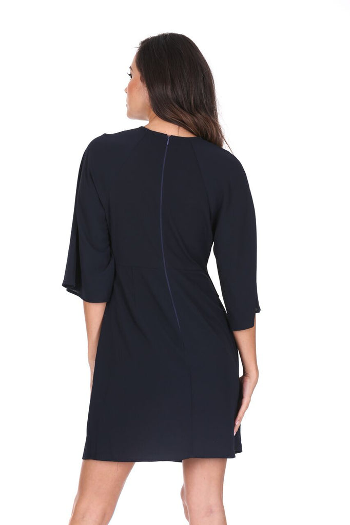 Navy Tie Waist Flared Mini Dress