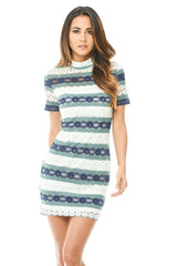 Navy Crochet Mini Dress with Striped Detail