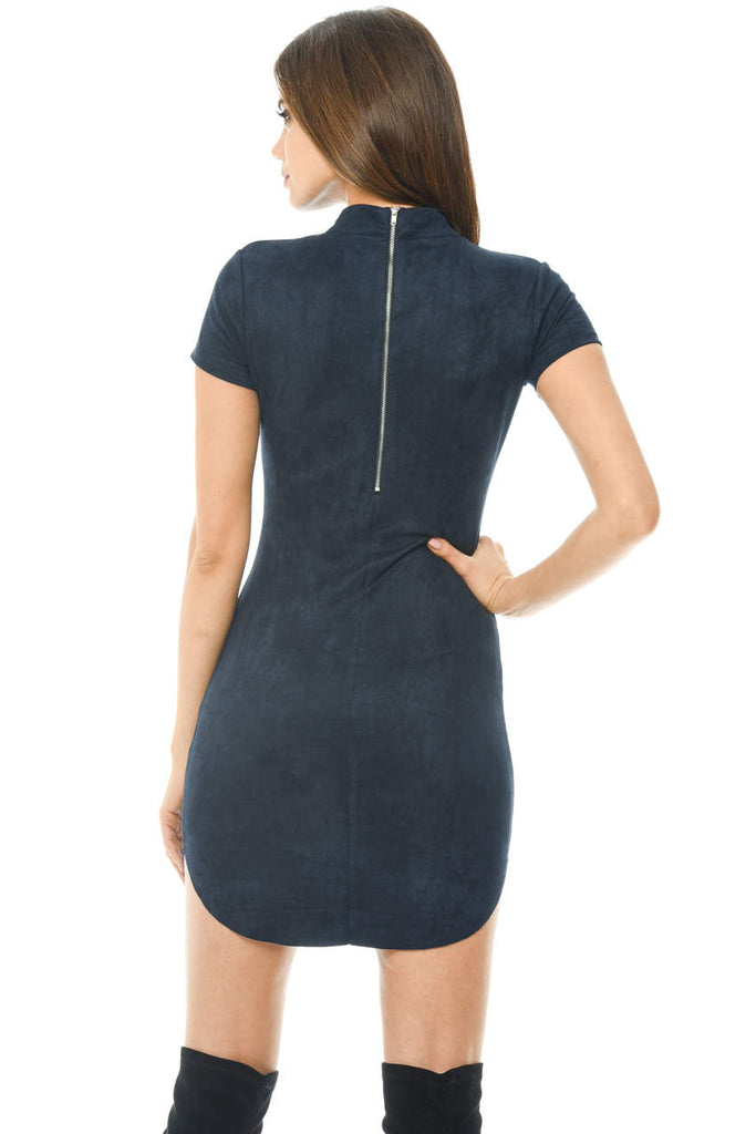 Navy Faux Suede Mini Dress With High Neck