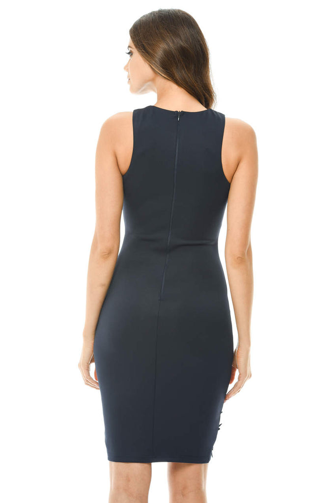 Navy Bodycon Dress With Lace Hem