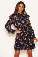 Navy Floral Button Up Frill Swing Dress