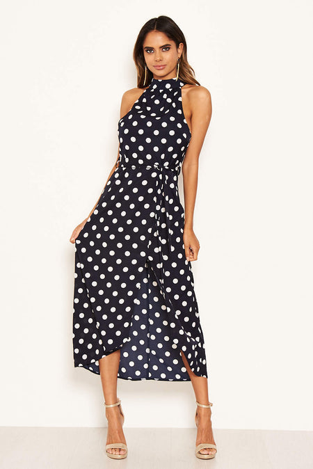 Olive Polka Dot Wrap Frill Midi Dress