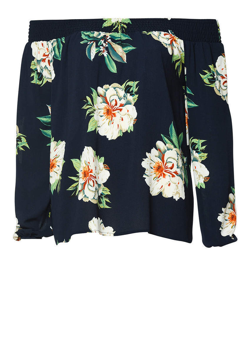 Navy Off The Shoulder Floral Top