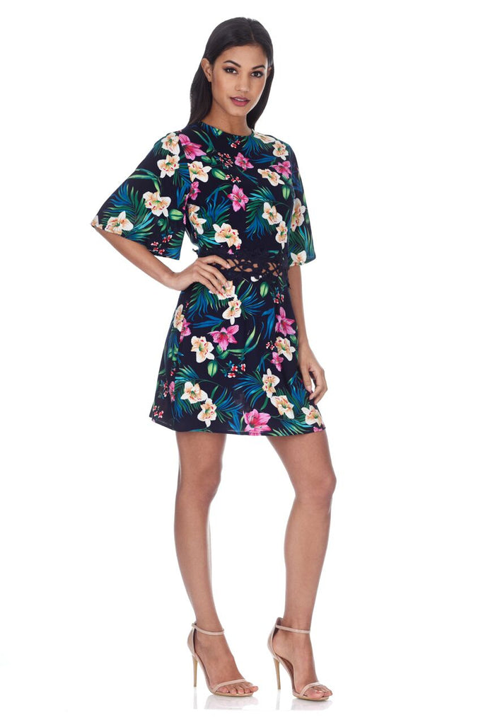 Navy Floral Dress With Crochet Waist Band
