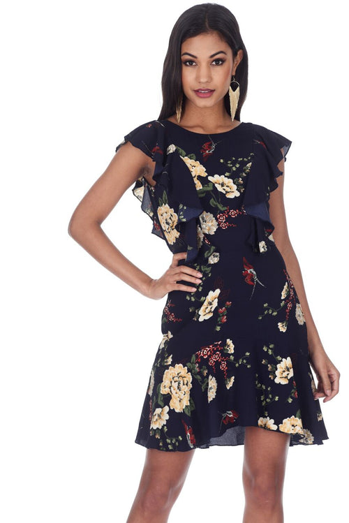 83078236904 Navy Floral Dress With Frill Detail