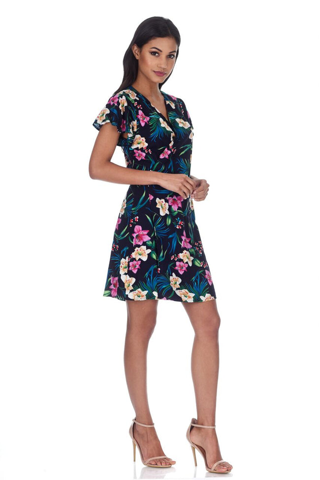 Navy Floral Wrap Dress With Frill Detail