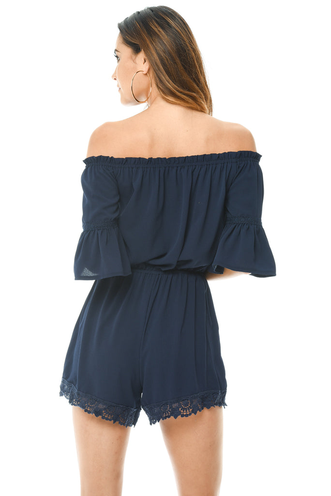 Navy Off The Shoulder Playsuit