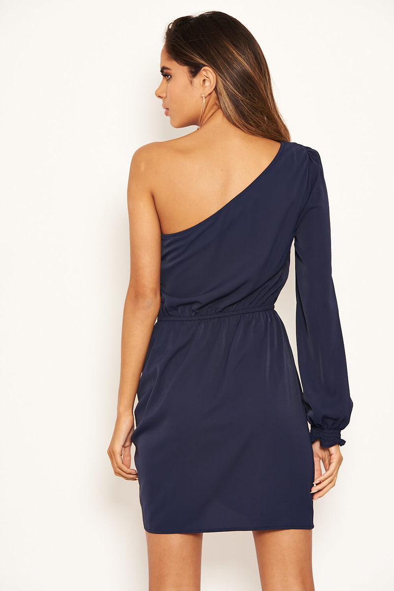 Navy One Shoulder Dress With Side Ruched Tie Detail