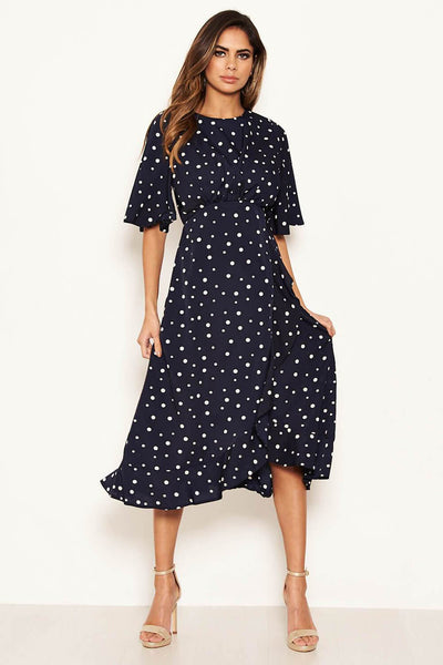 Navy Polka Dot Wrap Frill Midi Dress