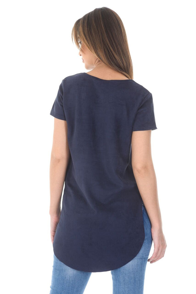 Navy Suede Dipped Back Short Sleeved