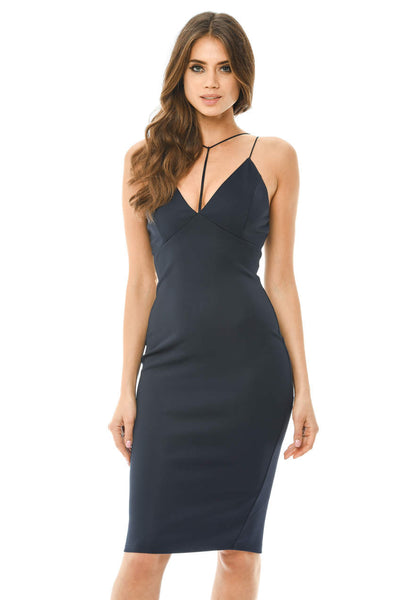 Harness Detail Plunge Bodycon Midi Dress