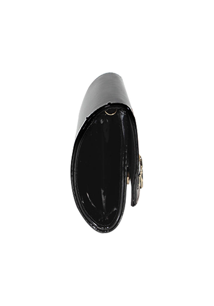 Black Patent Zip Detail Clutch Bag
