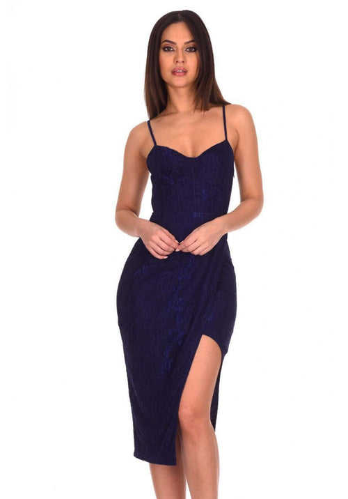 Navy Lace Strappy Midi Dress