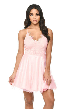 Pink Prom Lace Detail Dress