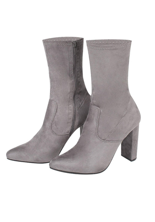 Grey Stretch Suede Boot Heels