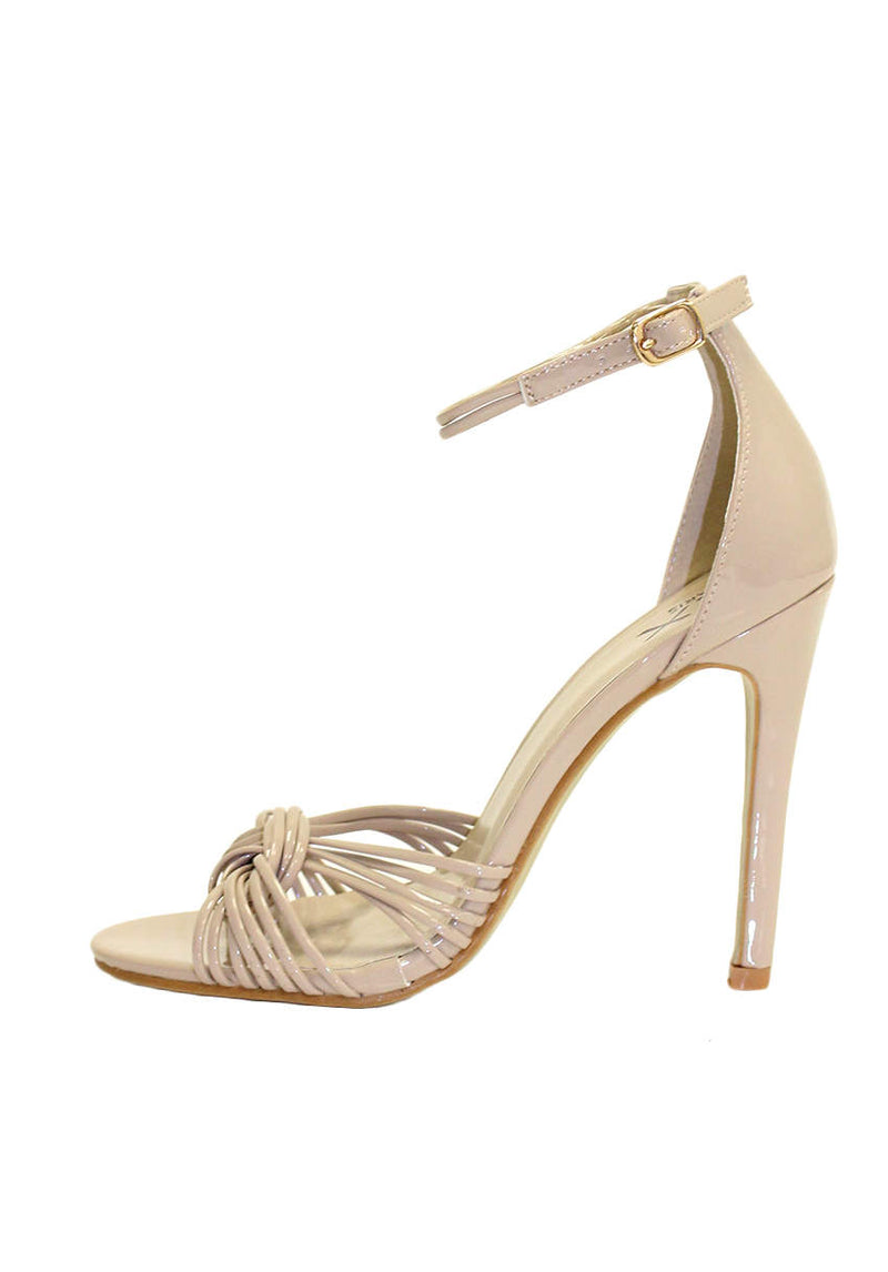 Nude Patent Knot Front Heels