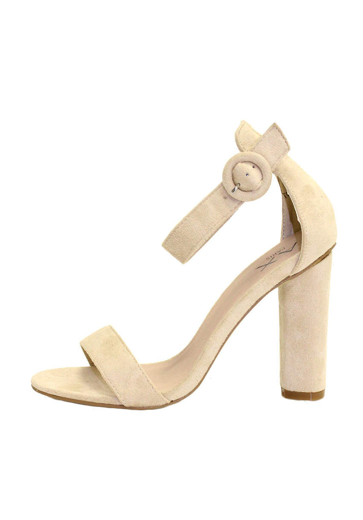 Nude Suede Heels With Thin Buckle Strap