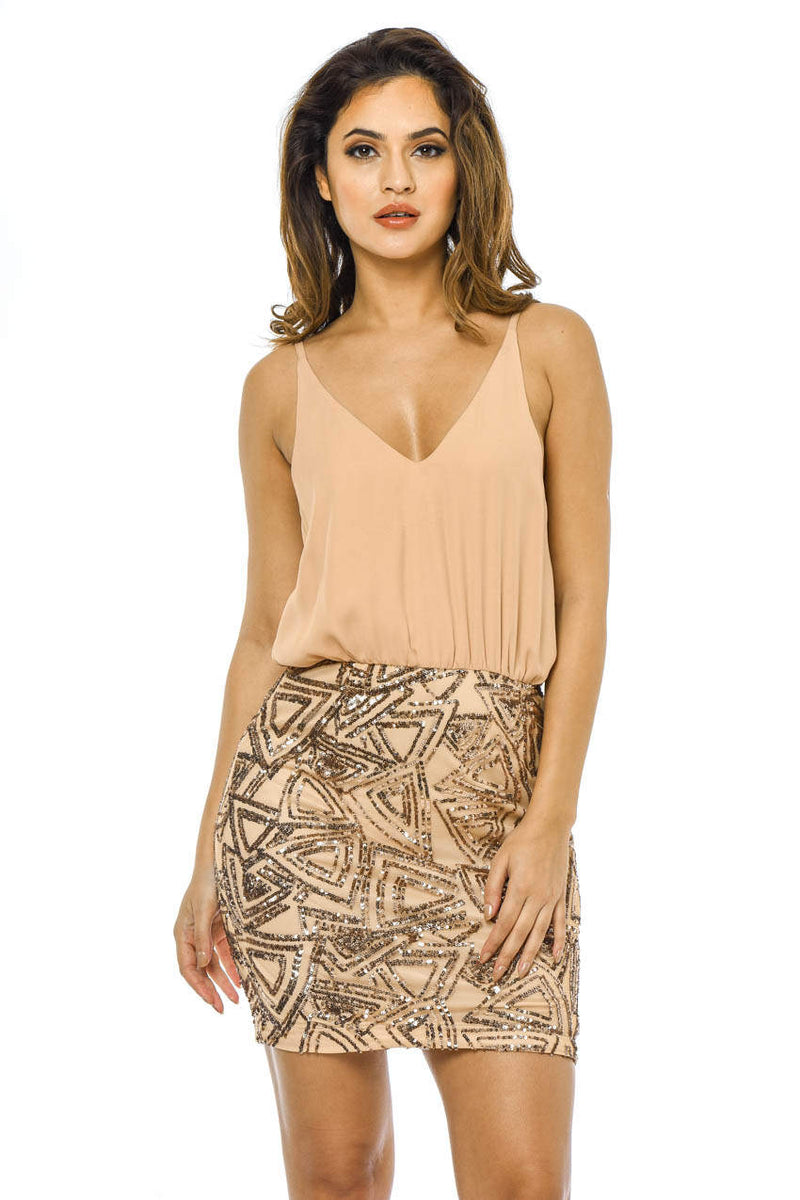 Nude 2 In 1 Dress with Sequin Skirt