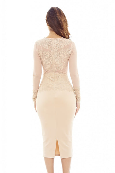 Nude Midi Dress with Lace And Mesh Detail
