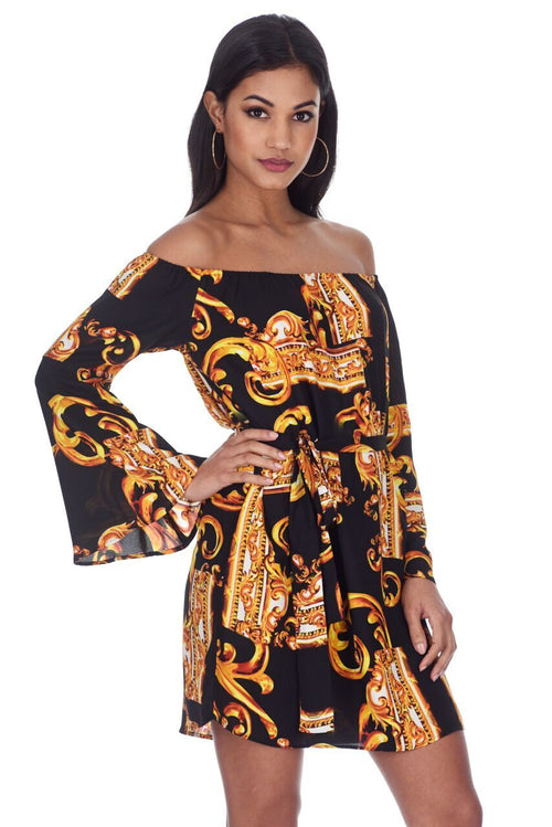 Black And Gold Patterned Off The Shoulder Shift Dress