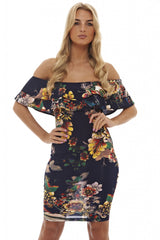 Printed Ruffle Bodycon Dress